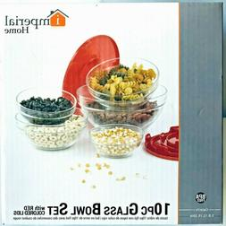 10 Pcs Glass Mixing Bowls Set With Red Colors Lids by Imperi