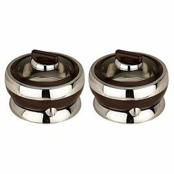 2 PCs Black Casserole Set With Glass Lid, Insulated Serving