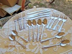 20 piece stainless flatware GIBSON 27 plume scroll edge 5pc
