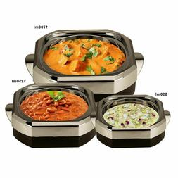 3 PCs Black Casserole Set With Glass Lid, Insulated Serving