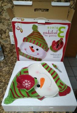 Real Home 3-piece Holiday Serving Set opened New w/ box. Dis