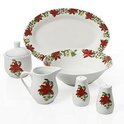 Gibson Home 99825.07R Poinsettia Holiday, 7 PC Serving Set,