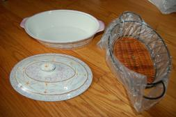 BRAND NEW SET OF 2 SERVING BOWLS WITH LIDS & BASKET - QVC