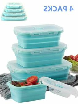 Collapsible Containers with Lids – Set of 4 Silicone Food