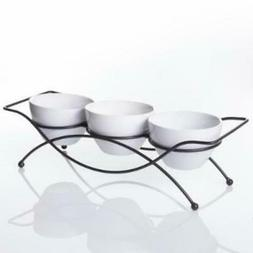 GIBSON Elite Gracious Dining 5 in., 4-piece White Serving Bo