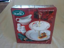 FESTIVE TRADITIONS Gibson China Red & Green Sq Ribbon Holly