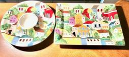 Pier 1 Hand Painted Serving Tray and Platter set