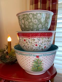 THE PIONEER WOMAN HOLIDAY CHEER TREE MELAMINE SET OF 3 BOWLS