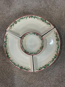 Pfaltzgraff Holiday Garland 4 pc Chip and Dip Vegetable Serv