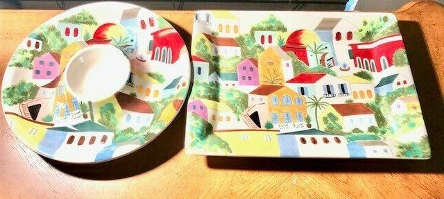 hand painted serving tray and platter set