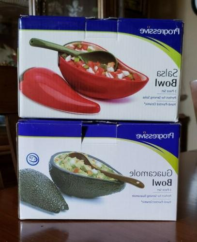 salsa and guacamole serving sets w spoons