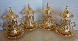 Lot of 4 NEW Turkish Coffee Serving Cups with Lids and Sauce