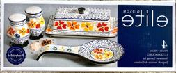 GIbson Elite Luxembourg Serving Set Butter Dish Salt and Pep
