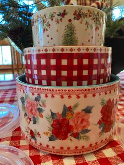 NEW! Pioneer Woman Cheerful Rose Bake and Store Bowl Set wit
