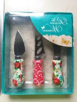 New - The Pioneer Woman - Vintage Floral 3 Piece Cheese Knif