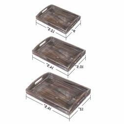 Ottoman Wooden Serving Trays Rustic Trays Plate Nesting Cuto