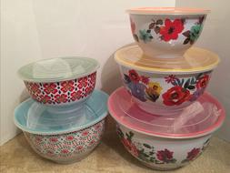 Pioneer Woman Country Garden Nesting Mixing Bowl Set 10 Piec