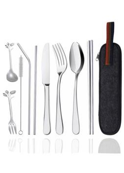 Reusable Travel Utensils Silverware With Case, Camping Cutle