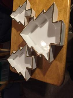 Set of 3 HOLIDAY TREE SHAPED  Serving Dishes  White And Gold