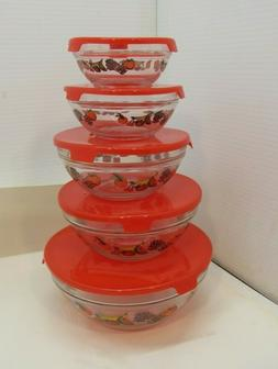 Set of Five Glass Bowls with Lids Stacking Nesting Bowl Set