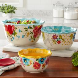 The Pioneer Women SWEET ROSE SENTIMENT SERVING  BOWL 3 pc. S