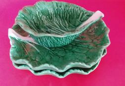 Three Piece Set Green Cabbage Leaves Serving Dishes Plates P