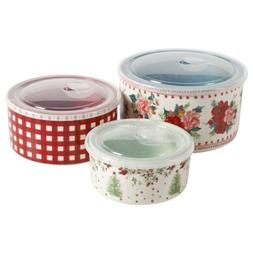 Pioneer Woman Cheerful Rose Bake ware And Storage Bowl Set W